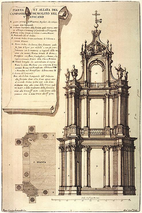 Bernini campanario sur San Pedro 1637_41 dem 1646_7, A Specchi