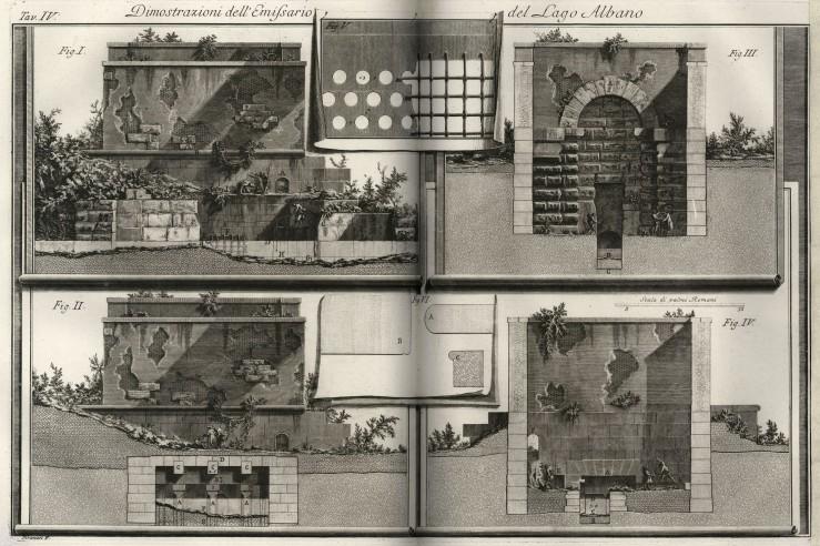 Piranesi Descrizione e Disegno dell'Emissario del Lago Albano 1762